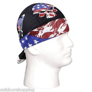 RED/WHITE/BLUE VINTAGE PATRIOT USA EAGLE LOGO COTTON BANDANA HEADWRAP