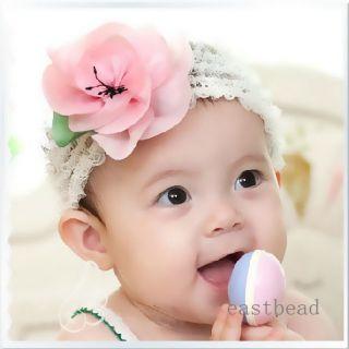 Newborn Baby Girl Crochet Flower Headband Hair Accessories Pink Color