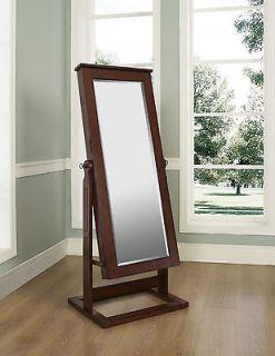 Powell Walnut Cheval Jewelry Armoire Storage Wardrobe Mirror Furniture