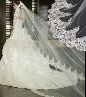 Vintage Embroider Lace Purfle White Ivory Bridal Wedding Veil