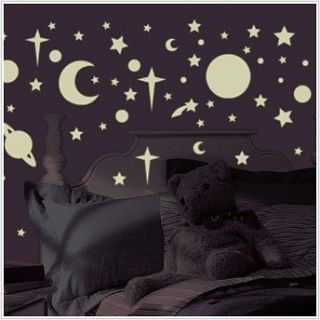 258 GLOW in the DARK Wall Decal STARS PLANETS Room Decor Stickers MOON
