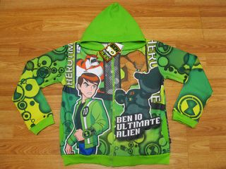 Ben 10 Ultimate Alien Hooded Jacket #989 Green Size 4 age 3 4