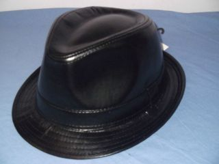MENS LADIES BLACK LEATHER LOOK PVC TRILBY PORK PIE HAT 56  59CM