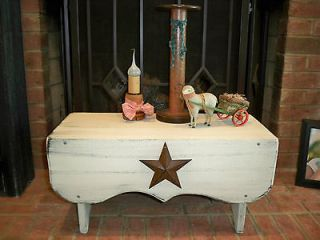 Wooden Bench with Barn Star rustic Decor or Shabby look Aged white