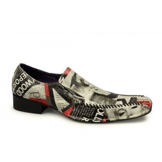 MARILYN MONROE Mens Funky Leather Slip On Party Shoes Black White Red