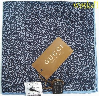 Pochette Navy with Baby Blue logo LETTERS Pocket Square NWT Authentic