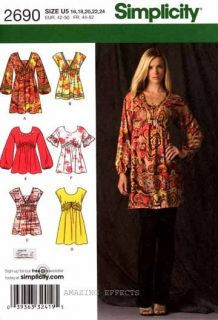 Pattern 2690 Womens Mini Dress Tunics Tops 16 24 misses sewing