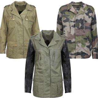 KHAKI MILITARY JACKET COAT CAMO CAMOUFLAGE PU LEATHER SLEEVES 8 14