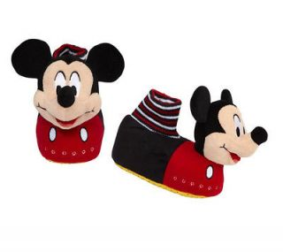 DISNEY MICKEY MOUSE PLUSH HEAD SLIPPERS PADDED ELASTICIZED SOCKS LARGE