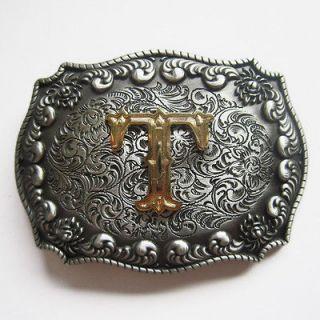 Initial Letter T Cowboy Rodeo Western Metal Belt Buckle