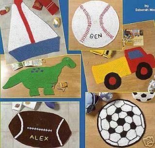 Crochet PATTERNS   rugs for boys baseball truck dinosaur soccer