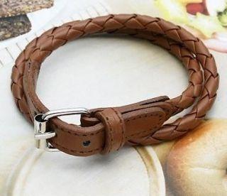 Fashion NEW Weaved Leather Double Wrap Belt Bracelet Wristband 1 PC