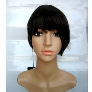 Off Black Mixed with Brown Asymmetric Bob Wig 100% Human Hair Wig
