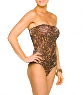 Kiniki Tan Through Thru Swimwear Maya Bandeau Tube Swimsuit Size 6