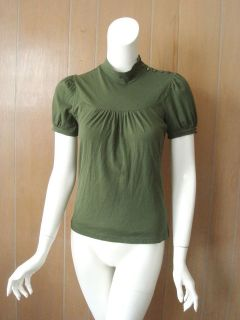 Anthropologie DELETTA Green Mock Neck Stretch Top XS