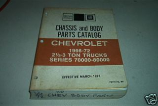 1966 67 1968 69 1970 1971 1972 CHEVY TRUCK PARTS 2 1/2