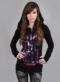 ABBEY DAWN BY AVRIL LAVIGNEWHAT THE HELL PURPLE FOIL HOODIE XS WOMEN
