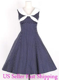 50s Vintage Size S WhiteDot/Navy Blue Sailor Dress Polka Dot