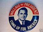 1968 WALLACE FOR PRESIDENT BUTTON PIN LITHO 1 5/8