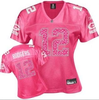 Green Bay Packers   #12 Aaron Rodgers PINK Womens Jersey (read size
