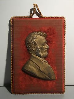 Old Abraham Lincoln Bust Plaque, Iron, Fabric Covered Wood Back