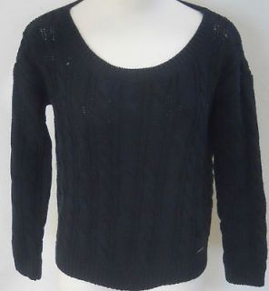 ABERCROMBIE & FITCH Womens Navy Cable Knit Cropped Shea Sweater Sizes