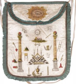 1805 hand painted freemason masonic apron. Amazing piece