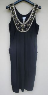 NWT Temperley London Petunia Size UK 12 US 8 Black Jeweled Beaded Silk