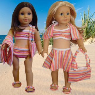 Doll Clothes fits American Girl 6 pc. Swimsuit set NEW