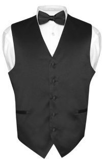 Mens BLACK Dress Vest BOWTie Set for Suit or Tuxedo