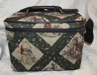 Rare Classic Winnie The Pooh Disney Tapestry Carpetbag Hand Bag Case