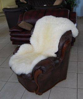 EXTRA LARGE NATURAL WHITE SHEEPSKIN RUG 127/65cm EXTRA SOFT HAIR MUST