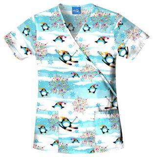 Cherokee NWT Christmas Scrub top ( Penguin Fun) 4826 PGFN