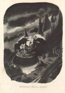 1942 Charles Addams Cartoon Art Witches Kettle Brew~All You Do Is Add