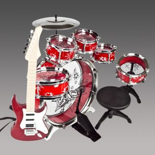 New Red Drum Set Musical Instrument Toy Payset Music Kids Red Electric