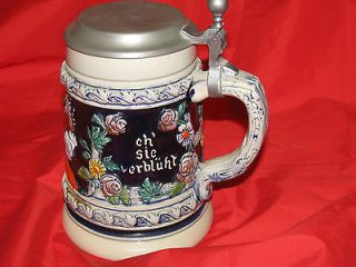 ALT GRENZAU 1894 GERMAN LIDDED BEER STEIN Pewter lid
