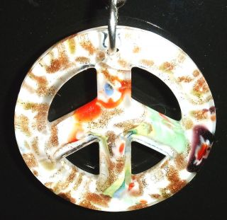 LIGHT LAMP CEILING FAN PULL PEACE SIGN GLASS WHITE GOLDSAND 40MM