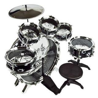 11 PCS Kids Drum Set Boy Girl Musical Instrument Toy Black Music Band