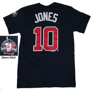 Majestic Atlanta Braves #10 Chipper Jones Commemorative T Shirt Color
