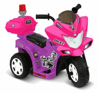 kids battery powered ride on toy pink girls motorcycle police trike 3