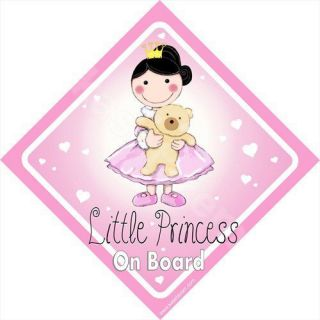 BABY ON BOARD PRINCESS PINK CAR VINYL DECALS SAFETY STICKER SIGN FREE