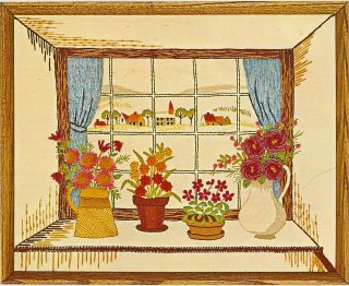 Thru the Window Flower Pots & Landscape Crewel Embroidery Kit