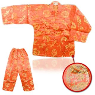 Boys Chinese Dragon Totem Long 2 PCS Red Long Sleeves & Trouser Size