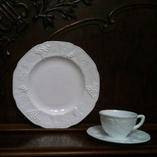 Indiana Colony Harvest Grape Milk Glass Dinner Plate + Cup & Saucer