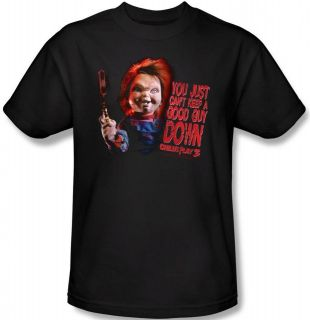 Ladies Childs Play 3 Chucky Good Guy Doll Evil Horror Tshirt top