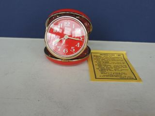 VINTAGE LINDEN TRAVEL ALARM CLOCK Watch Red Japan box WORKS!