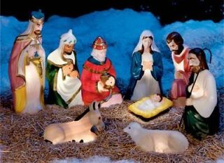 Outdoor nativity set on popscreen