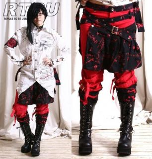 Gothic Punk Armor Red Pants Jean+Black Sheild Pleated Skirt Hip Wrap