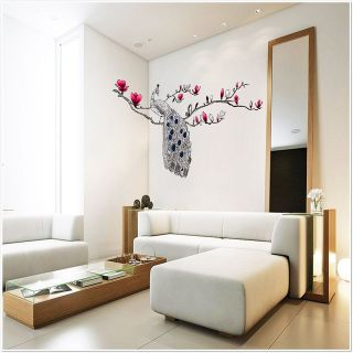 Large Peacock Magnolia Flowers Wall Stickers Decals Room Window Film