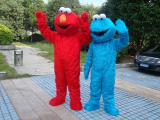 Sesame Street Elmo and Cookie Monster Mascot Costume
